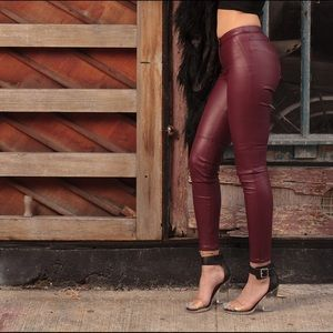 Red burgundy leather pants